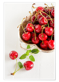 Poster Premium A bowl of delicious cherries