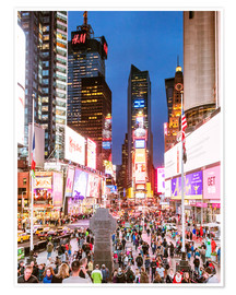 Poster Premium  Times square at night illuminated by neon lights, New York city, USA - Matteo Colombo
