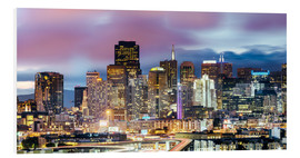 Stampa su schiuma dura  Panoramic of San Francisco downtown district skyline at night, California, USA - Matteo Colombo