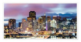 Poster  Panoramic of San Francisco downtown district skyline at night, California, USA - Matteo Colombo
