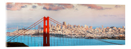 Stampa su vetro acrilico  Panoramic sunset over Golden gate bridge and San Francisco bay, California, USA - Matteo Colombo