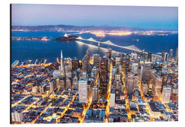 Stampa su alluminio  Aerial view of San Francisco downtown with Bay bridge at night, California, USA - Matteo Colombo