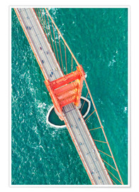 Poster Premium  Aerial view of Golden gate bridge, San Francisco, California, USA - Matteo Colombo