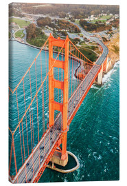 Stampa su tela  Flying over Golden gate bridge, San Francisco, California, USA - Matteo Colombo