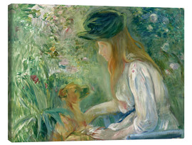 Stampa su tela  Girl with Dog - Berthe Morisot