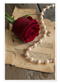 Poster Premium Red rose, pearls and letter