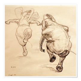 Poster  Two dancing elephant - Heinrich Kley