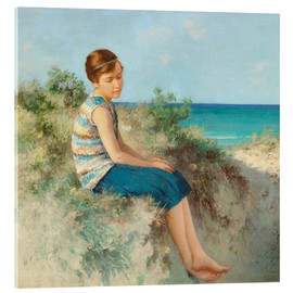 Stampa su vetro acrilico  Girl in the dunes by the North Sea beach on Sylt - Hermann Seeger