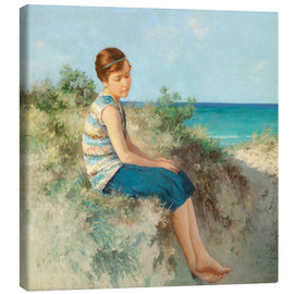 Stampa su tela  Girl in the dunes by the North Sea beach on Sylt - Hermann Seeger