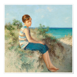 Poster Premium  Girl in the dunes by the North Sea beach on Sylt - Hermann Seeger