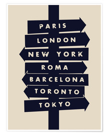 Poster Premium City signs travel locations art print
