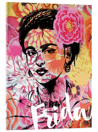 Vetro acrilico  Frida Kahlo ethnic pop art floral illustration - Nory Glory Prints