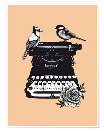 Poster Premium Birds on typewriter machine vintage art print