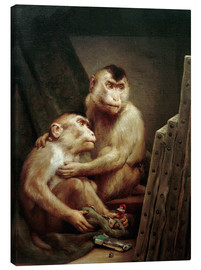 Stampa su tela  The art critic - two monkeys look at a painting - Gabriel von Max