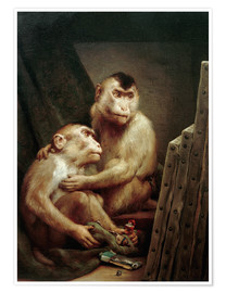 Poster The art critic - two monkeys look at a painting