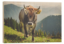Stampa su legno  Cow in the Mountains - Michael Helmer