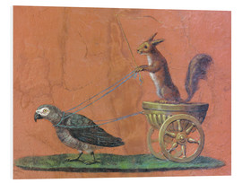 Stampa su schiuma dura  Parrot draws cars with squirrels