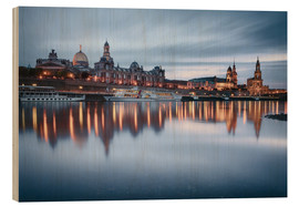Stampa su legno  Dresden old town at the blue hour - Philipp Dase