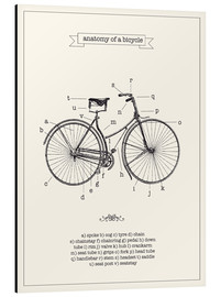Alluminio Dibond  Vintage parts of a Bicycle anatomy - Nory Glory Prints