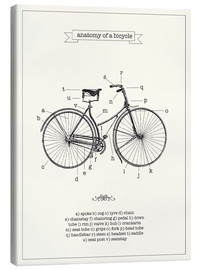 Tela  Vintage parts of a Bicycle anatomy - Nory Glory Prints