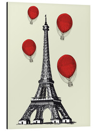 Stampa su alluminio  Vintage Paris Eiffel tower and red ballons - Nory Glory Prints