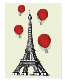 Poster Premium Vintage Paris Eiffel tower and red ballons