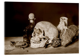 Vetro acrilico  Still Life - skull, ancient book, dry rose and candle