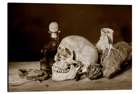 Alluminio Dibond  Still Life - skull, ancient book, dry rose and candle