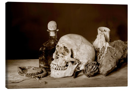 Tela  Still Life - skull, ancient book, dry rose and candle