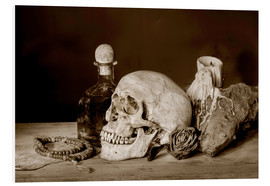 Schiuma dura  Still Life - skull, ancient book, dry rose and candle