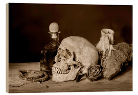 Stampa su legno  Still Life - skull, ancient book, dry rose and candle