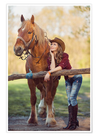 Poster Premium young cowgirl and horse