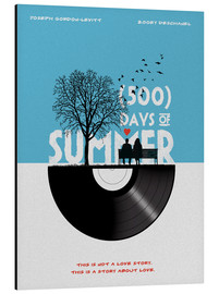 Alluminio Dibond  500 days of summer movie inspired illustration - Golden Planet Prints