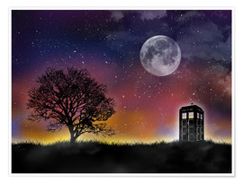Poster Premium  Doctor who tardis night sky tv serie inspired art print - Golden Planet Prints