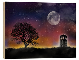 Stampa su legno  Doctor who tardis night sky tv serie inspired art print - Golden Planet Prints