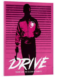 Vetro acrilico  Drive ryan gosling movie inspired art print - Golden Planet Prints
