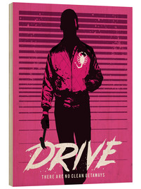 Legno  Drive ryan gosling movie inspired art print - Golden Planet Prints