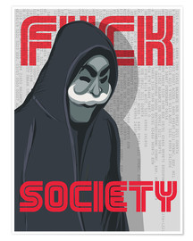 Poster Premium  F*ck Society, Mr. Robot - Golden Planet Prints