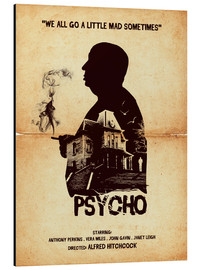 Alluminio Dibond  Psycho movie inspired hitchcock silhouette art print - Golden Planet Prints