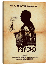 Tela  Psycho movie inspired hitchcock silhouette art print - Golden Planet Prints