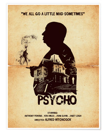 Poster  Psycho movie inspired hitchcock silhouette art print - Golden Planet Prints
