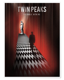 Poster  Twin peaks illustration retro tv serie inspired art print - Golden Planet Prints
