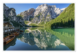 Poster Premium Braies Lake, South Tyrol, Italy