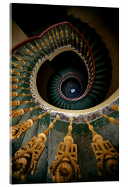 Stampa su vetro acrilico  Ornamented spiral staircase in green and yellow - Jaroslaw Blaminsky