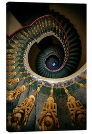 Stampa su tela  Ornamented spiral staircase in green and yellow - Jaroslaw Blaminsky
