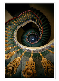 Poster Premium  Ornamented spiral staircase in green and yellow - Jaroslaw Blaminsky