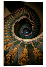 Legno  Ornamented spiral staircase in green and yellow - Jaroslaw Blaminsky
