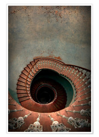Poster Premium Spiral staircase in red