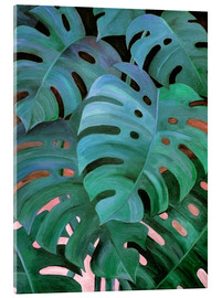 Stampa su vetro acrilico  Monstera Love in Teal and Emerald Green - Micklyn Le Feuvre