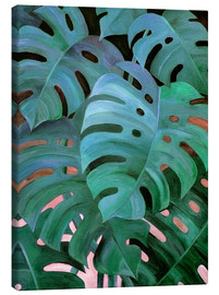 Tela  Monstera Love in Teal and Emerald Green - Micklyn Le Feuvre